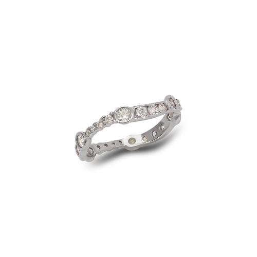 273-104W Ladies Fancy White CZ Band Ring