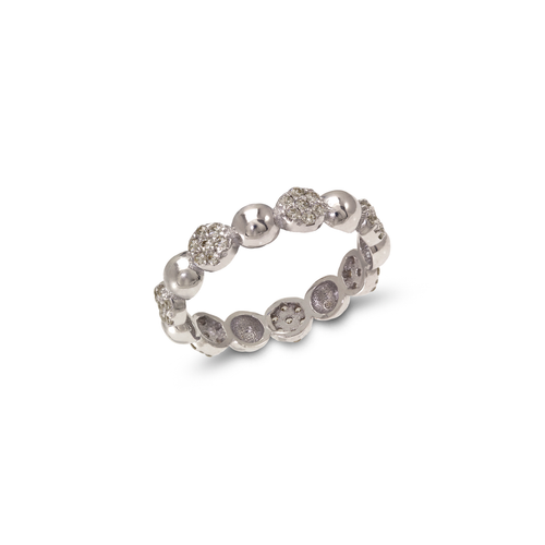 273-108W Ladies Fancy White CZ Band Ring
