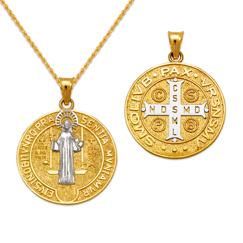 362-972Z-025 Saint Benedict Two-Sided Pendant
