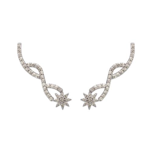 243-004W Crawler CZ Earrings