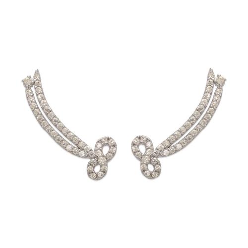 243-005W Crawler CZ Earrings
