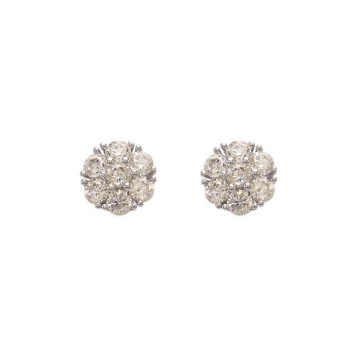 743-013W Fancy Flower CZ Stud Earrings