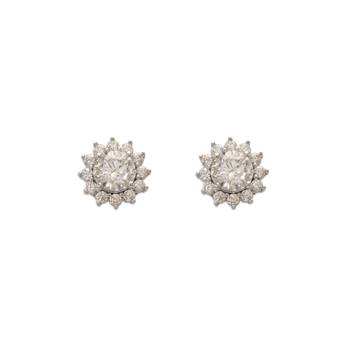743-017W Fancy Flower CZ Stud Earrings