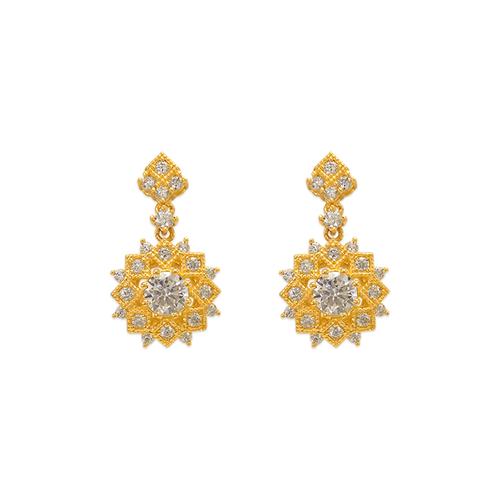 743-018 Fancy Diamond Cut Flower CZ Stud Earrings