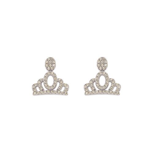 743-040W Fancy Crown CZ Stud Earrings