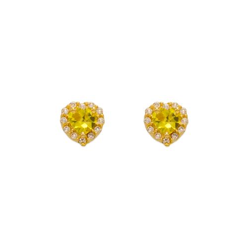 343-161YE Yellow Heart Halo CZ Stud Earrings