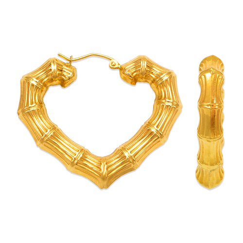 546-992S Bamboo Heart Hoop Earrings