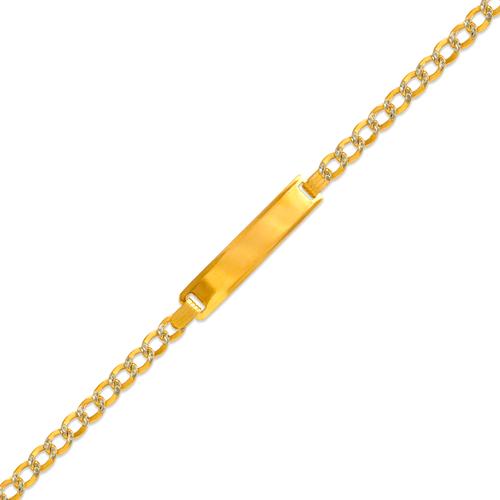 126-101ZB-080 Kids Hollow Curb White Pave ID Bracelet