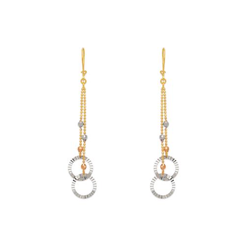842-006  Dangling Double Ring Earrings