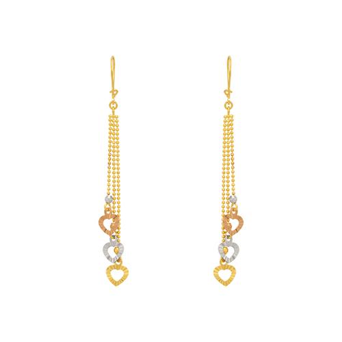 842-010  Dangling Three Heart Earrings
