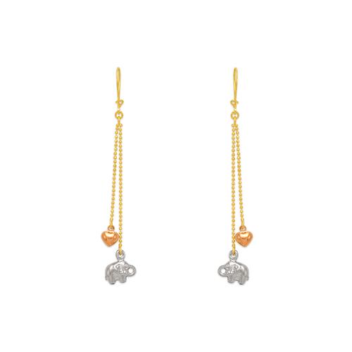 842-017  Dangling Elephant/Heart Earrings