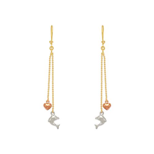 842-018  Dangling Dolphin/Heart Earrings