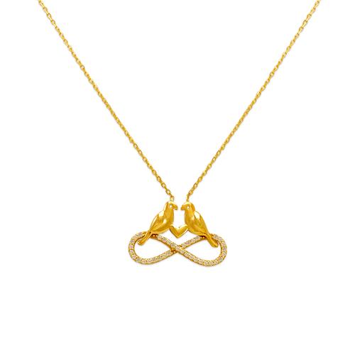 253-002 Fancy Infinity Birds CZ Necklace
