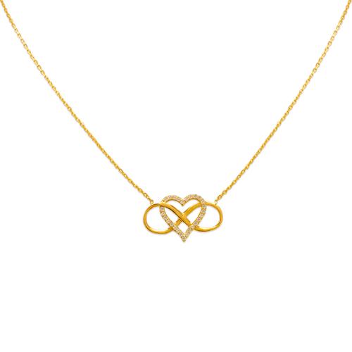 253-003 Fancy Infinity Hearts CZ Necklace