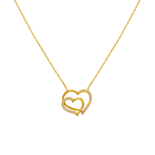 253-006 Fancy Double Heart CZ Necklace