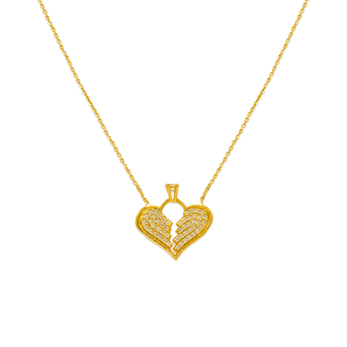 253-007 Fancy Heart with Solitaire CZ Necklace