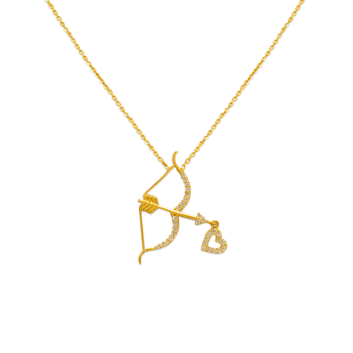 253-008 Fancy Cupid's Bow and Arrow CZ Necklace