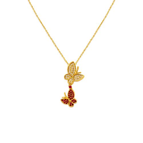 253-010 Fancy Double Butterfly CZ Necklace