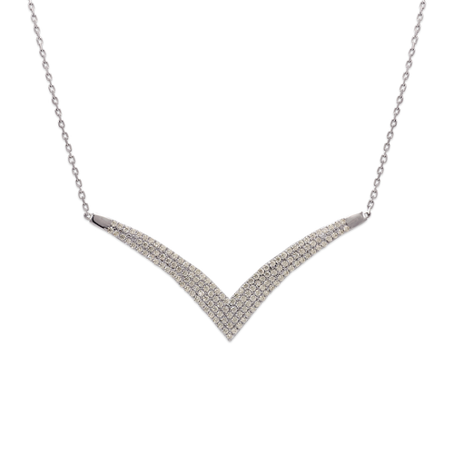 253-101W Fancy White Chandelier CZ Necklace