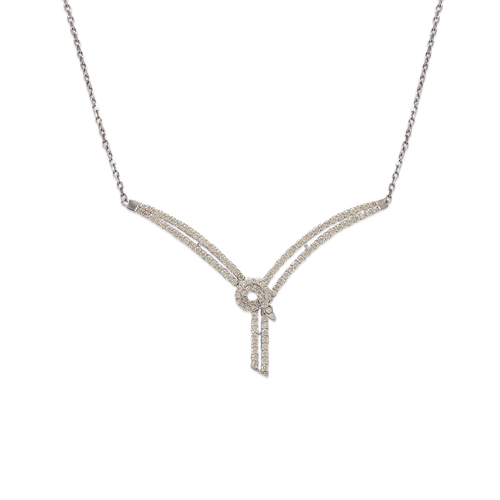 253-102W Fancy White Chandelier CZ Necklace
