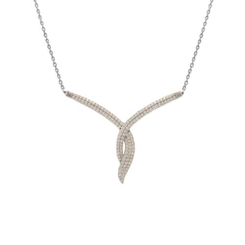 253-103W Fancy White Chandelier CZ Necklace