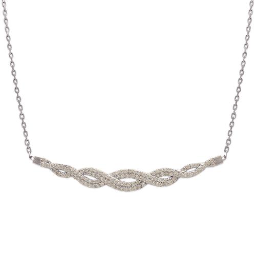 253-104W Fancy White Chandelier CZ Necklace