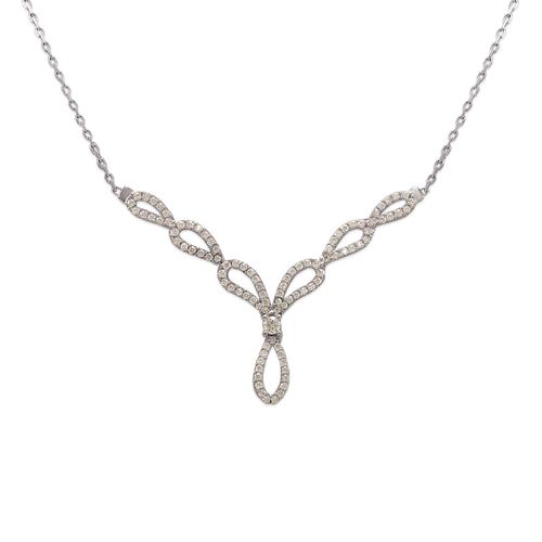 253-105W Fancy White Chandelier CZ Necklace