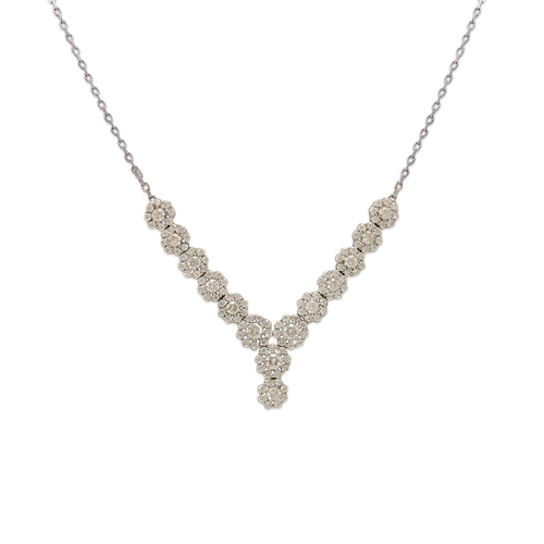 253-106W Fancy White Chandelier CZ Necklace