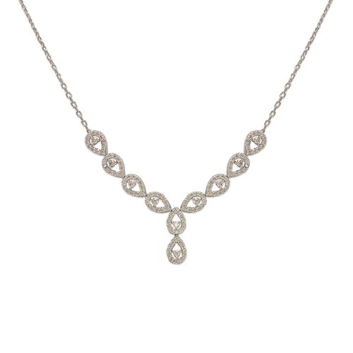 253-107W Fancy White Chandelier CZ Necklace