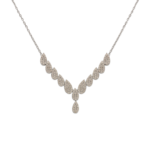 253-108W Fancy White Chandelier CZ Necklace