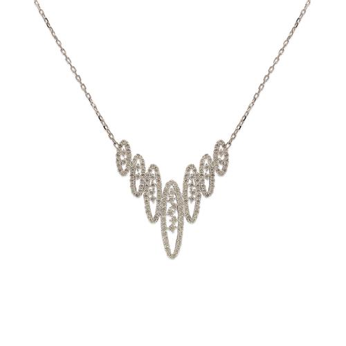 253-109W Fancy White Chandelier CZ Necklace