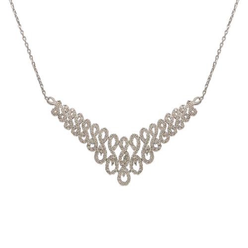 253-110W Fancy White Chandelier CZ Necklace