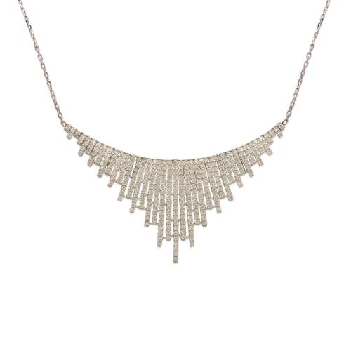 253-111W Fancy White Chandelier CZ Necklace
