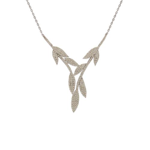 253-112W Fancy White Chandelier CZ Necklace
