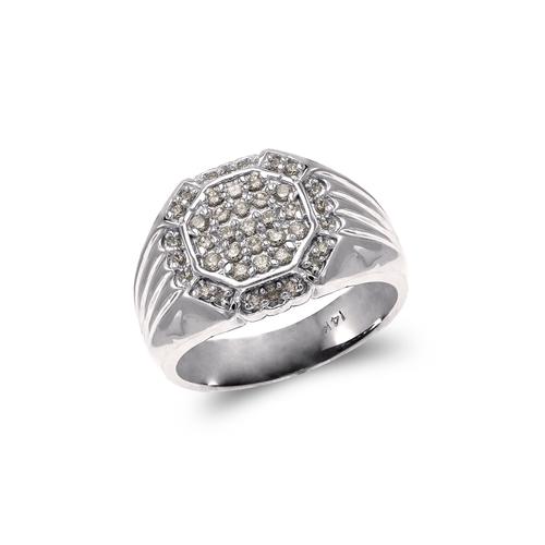 679-006W Men's White Cluster Ring