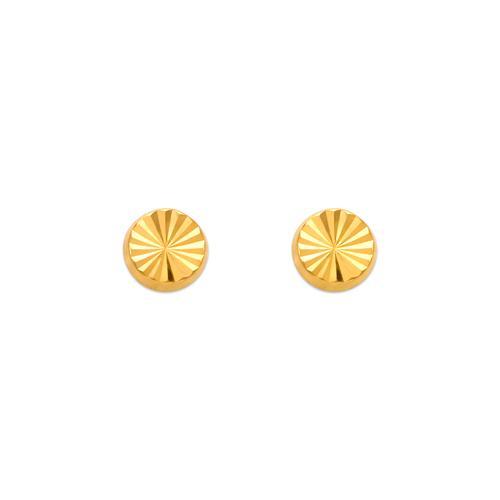 343-015 Diamond Cut Round Stud Earrings
