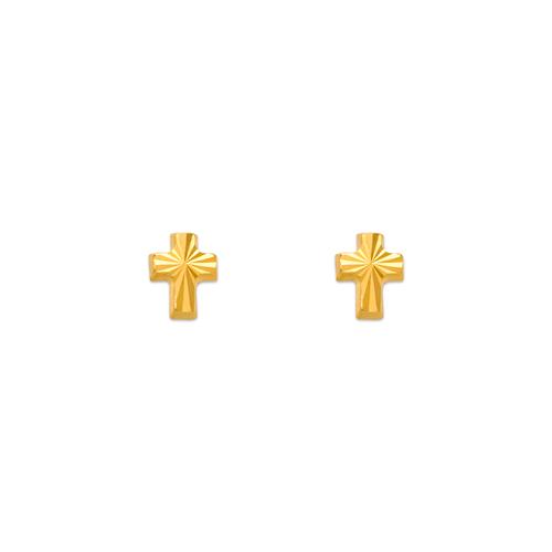 343-016 Diamond Cut Cross Stud Earrings