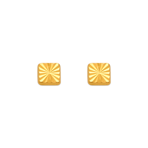 343-017 Diamond Cut Square Stud Earrings