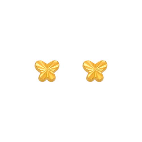 343-018 Diamond Cut Butterfly Stud Earrings