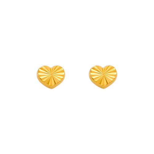 343-019 Diamond Cut Heart Stud Earrings