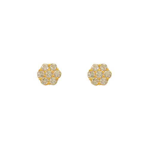 343-209WH White Flower CZ Stud Earrings