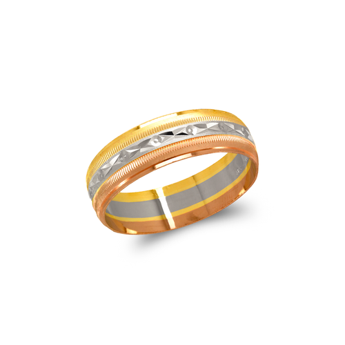 372-103T Tricolor Shooting Star Stamping Wedding Band