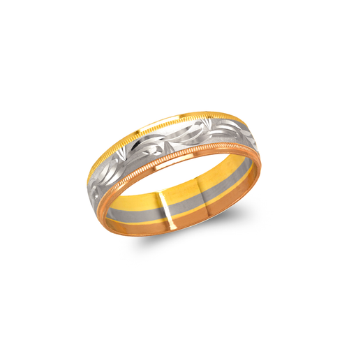 372-104T Tricolor Shooting Star Stamping Wedding Band