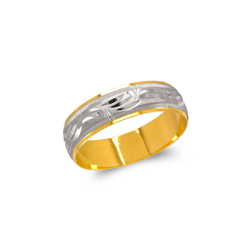 372-104Z Two Tone Shooting Star Stamping Wedding Band