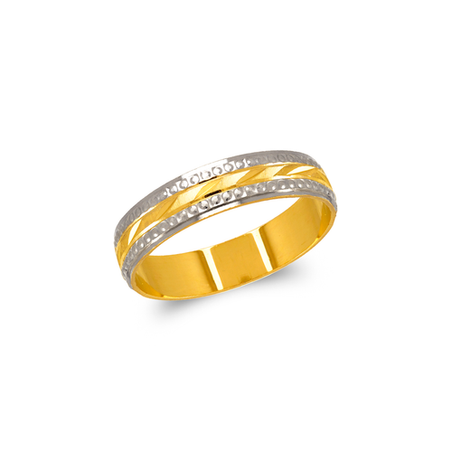 372-106Z Two Tone Stamping Wedding Band