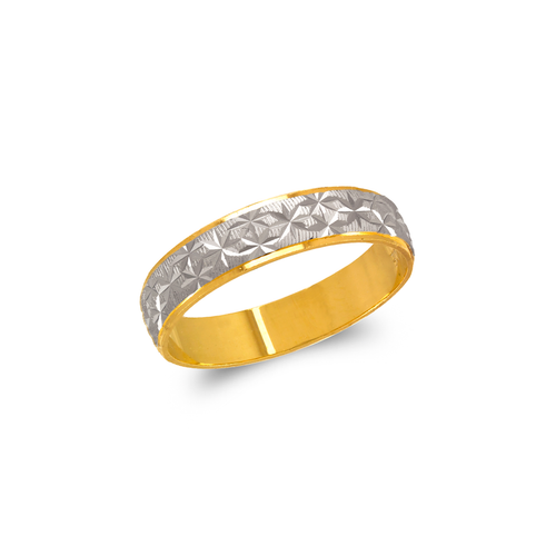 372-107Z Two Tone Star Stamping Wedding Band