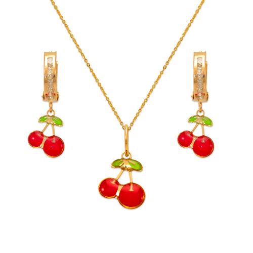 347-919S Cherries Enamel Set