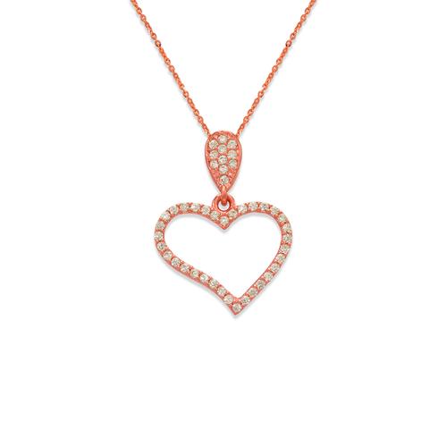 263-001R Fancy Rose Heart CZ Pendant