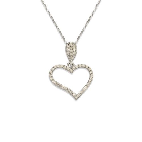 263-001W Fancy Heart CZ Pendant