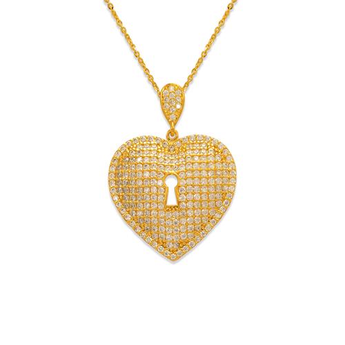 263-002 Fancy Heart Lock CZ Pendant